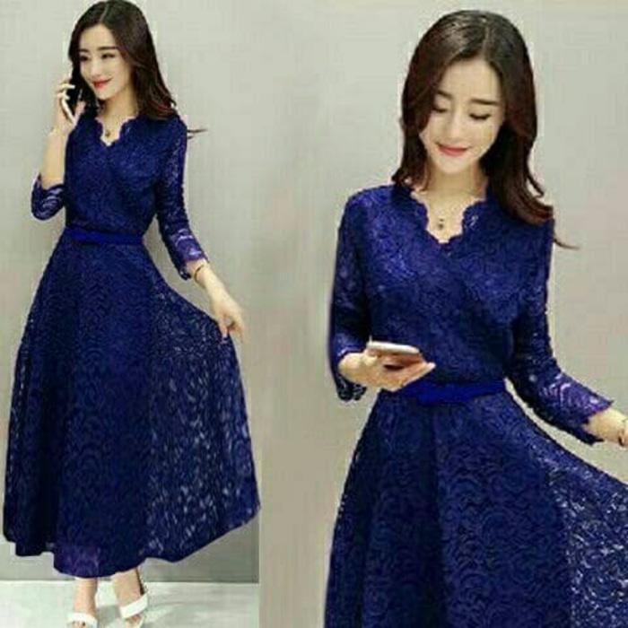 Sale baju tanah abang! long dress shaby maroon navy taji