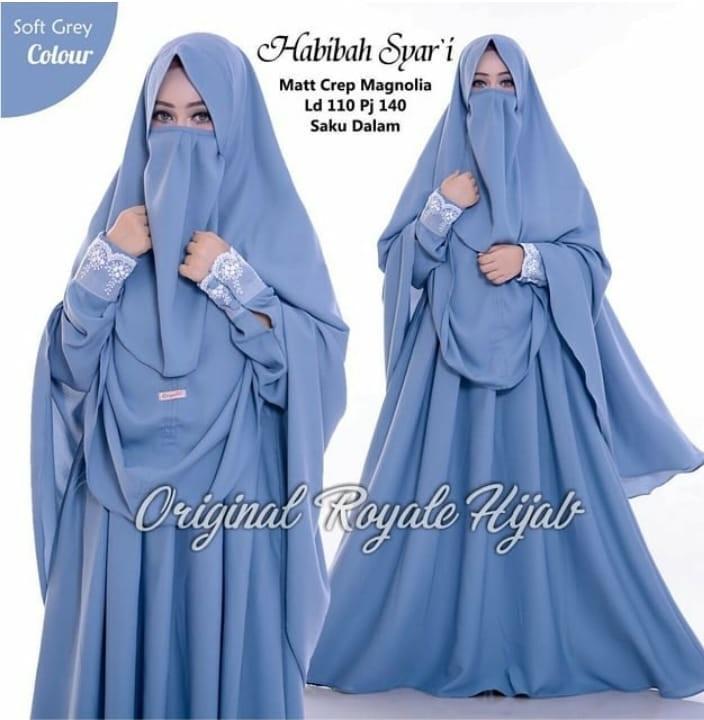 Baju Murah Modern Gamis Habibah Syar i Dress Baju Crepe Baju Terusan Wanita  Gamis Casual 812a57a8e6