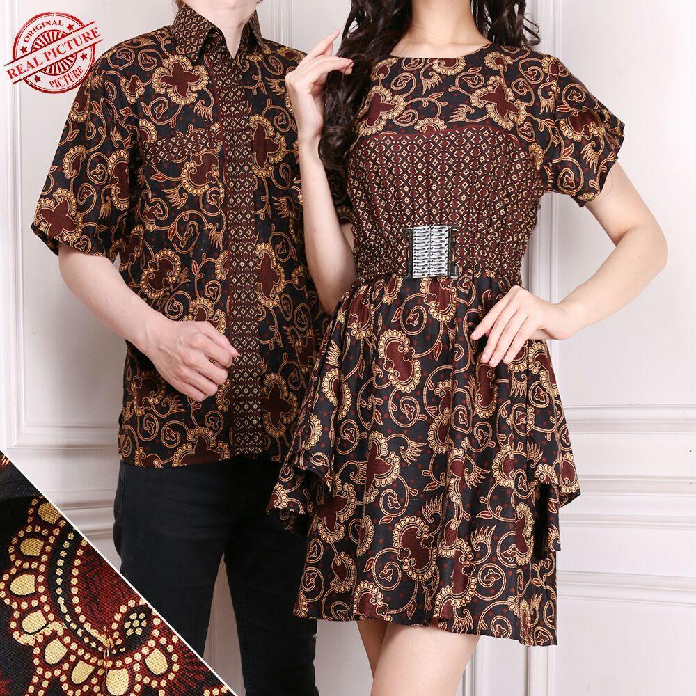 Cj collection Couple batik dress maxi pendek wanita mini dress dan atasan kemeja pria shirt Nadya M - XL