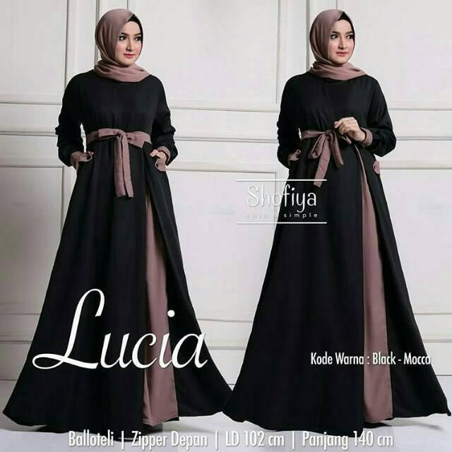 Lucia Dress / Baju Grosir Gamis murah wanita / Hijab Jilbab Syari Muslim milktea