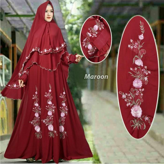 (JNH Shop)  Baju Butik Arbella Syari Marun Busana Muslim Gamis Pesta Mewah Murah