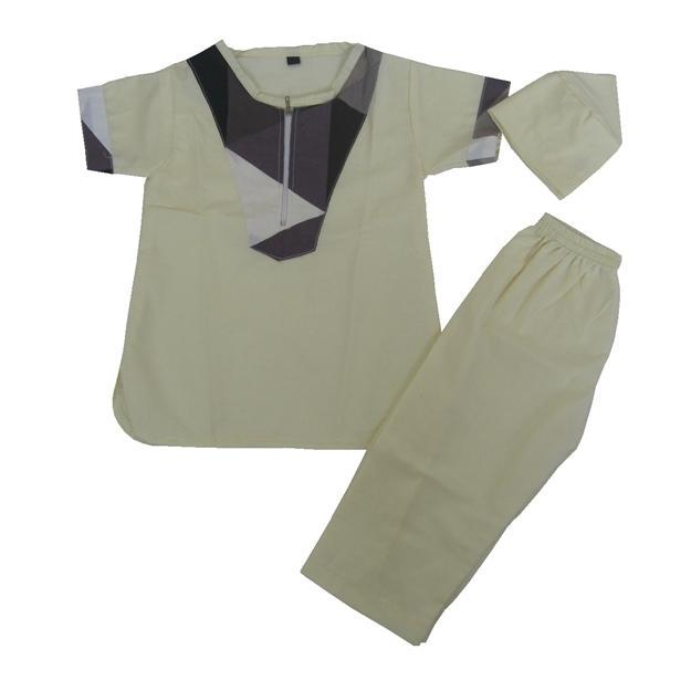 Baju Koko Turki Bayi / Anak Laki-laki Kuning Muda (A) - Baju Koko + Celana Panjang + Peci