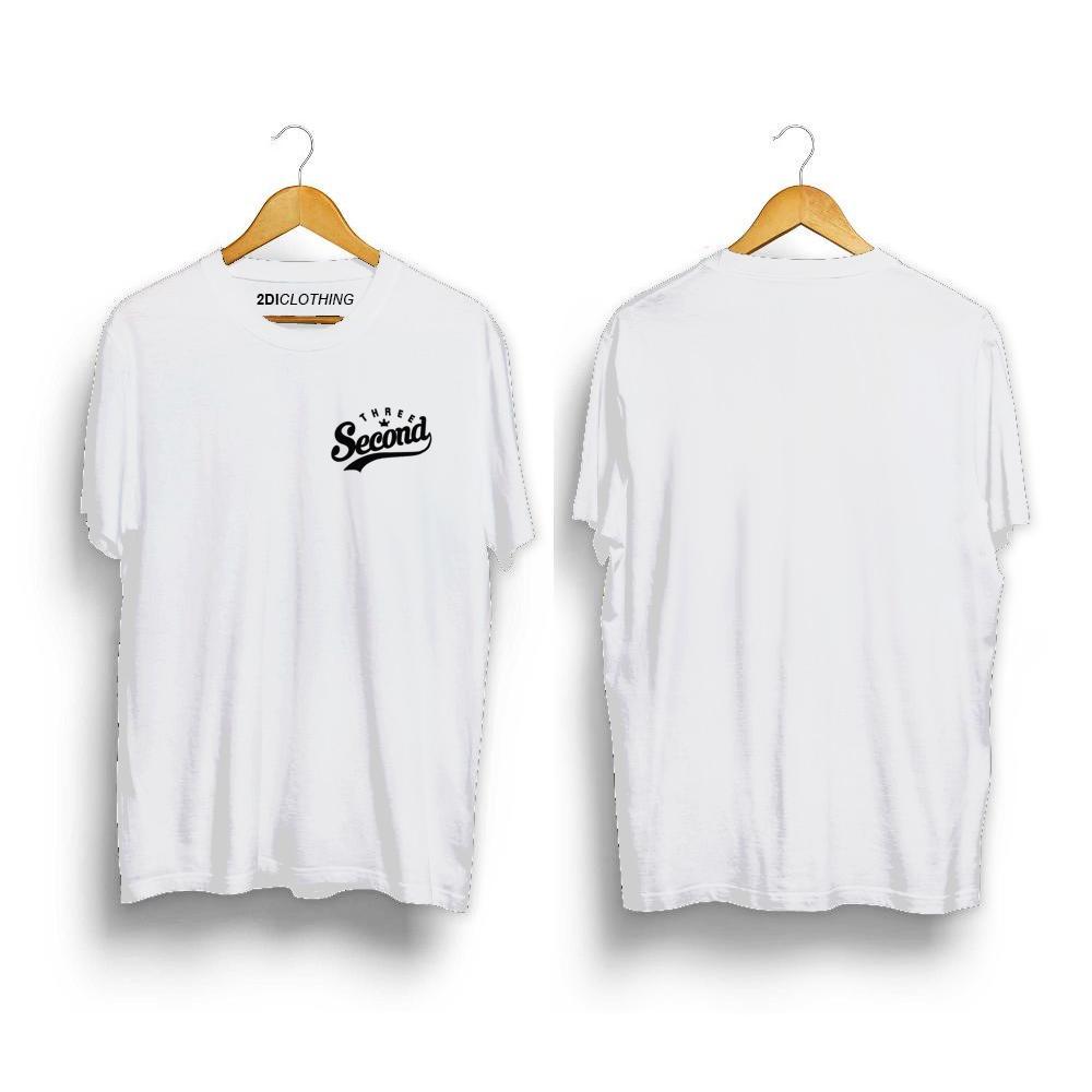 Kaos distro 3second Logo Premium Putih Unisex - Tshirt 3second White Premium