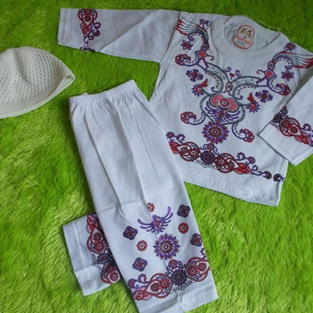 kembarshop - PALING MURAH set baju koko bayi putih sablon ukuran M 6-12bulan ungu PLUS PECI
