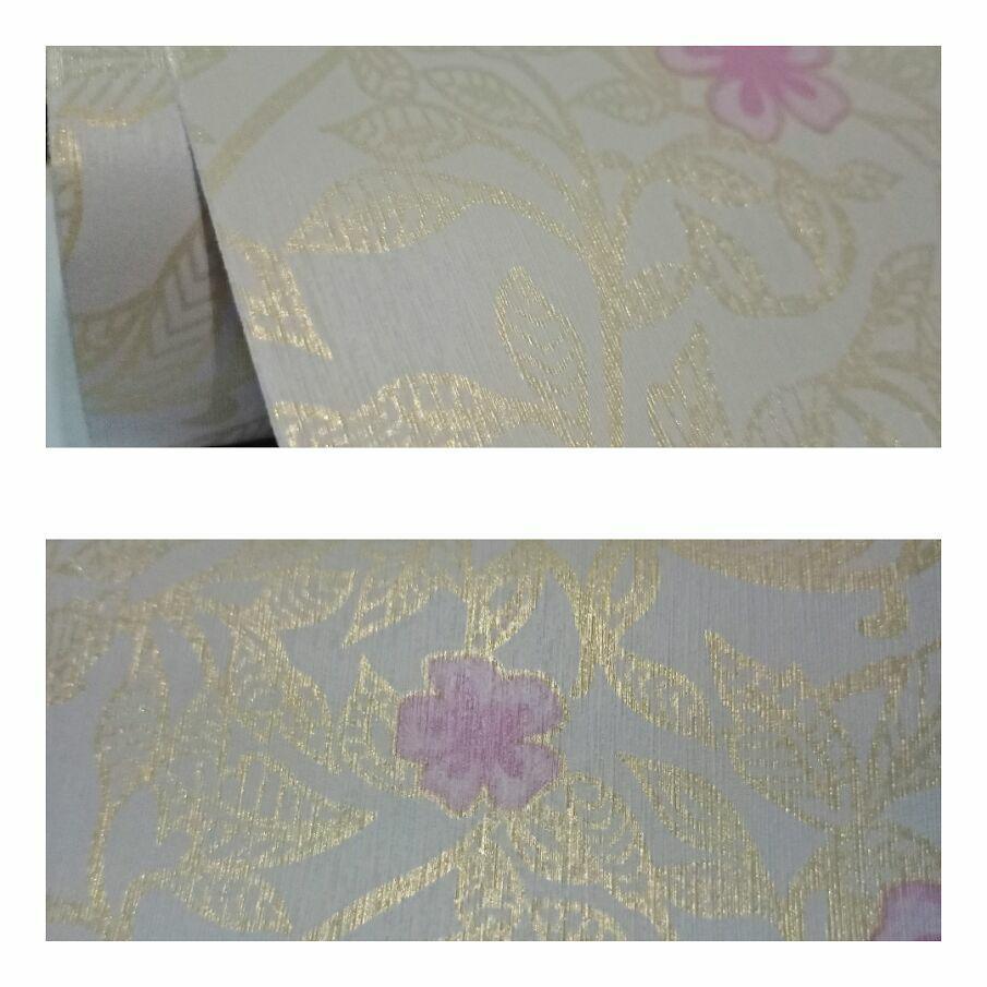 Grosir wallpaper sticker dinding ruangan termurah kream batik gold bunga ungu cantik elegan terbagus
