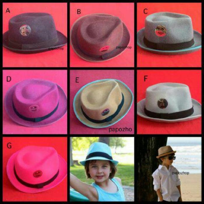 topi fedora anak bludru polos warna warni Terlaris di Lazada