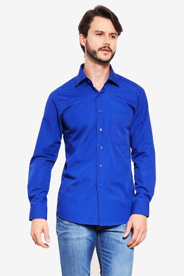 Alisan Pakaian Atasan Kemeja Pria Polos Panjang Biru