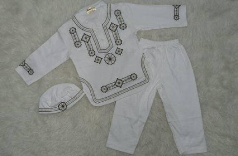 Baju Koko Bayi - Muslim Laki-laki - Koko Anak Bayi - Putih - Bordir