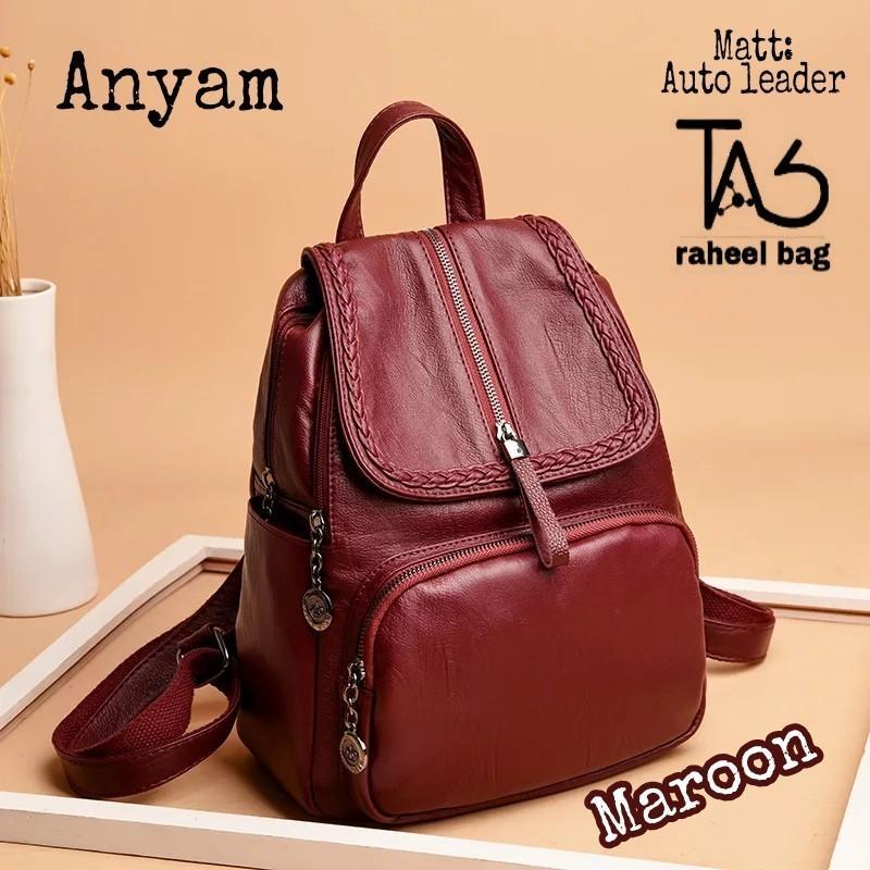 Ransel Anyam Official Tas Wanita Import Branded Backpack Korea Style Elegan Multifungsi