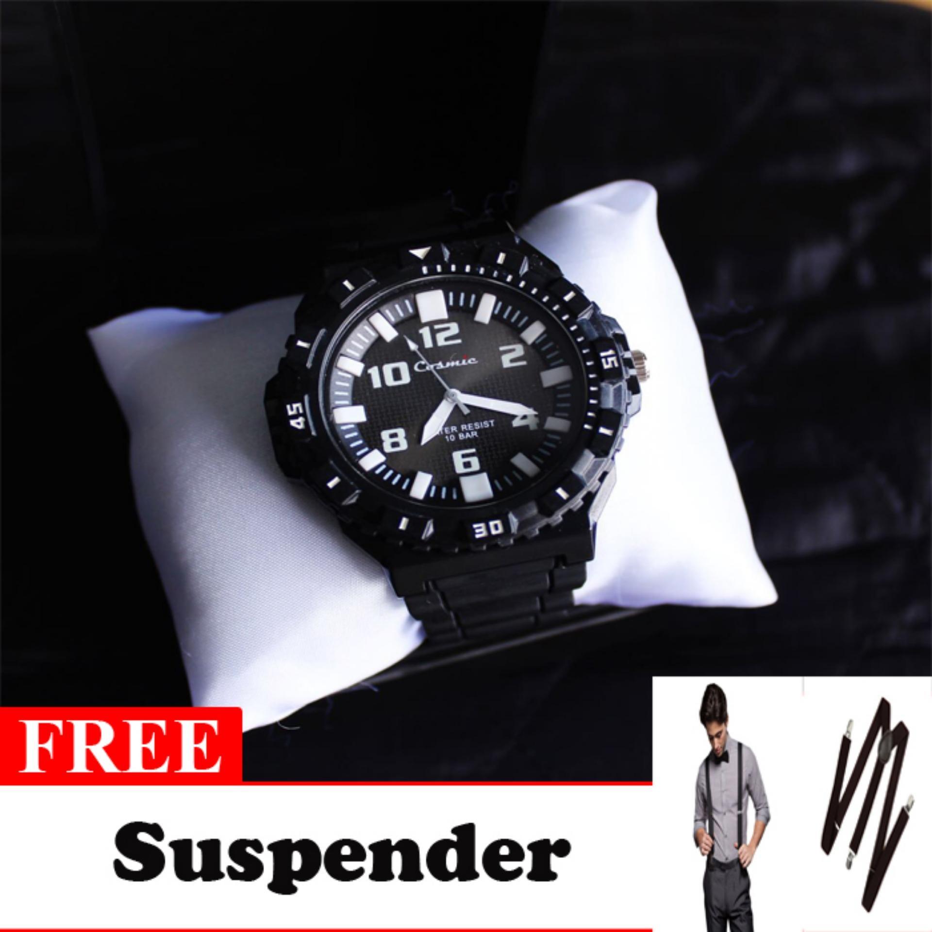 Cosmic Zero Jam Tangan Sport Analog - Hitam Free Suspender