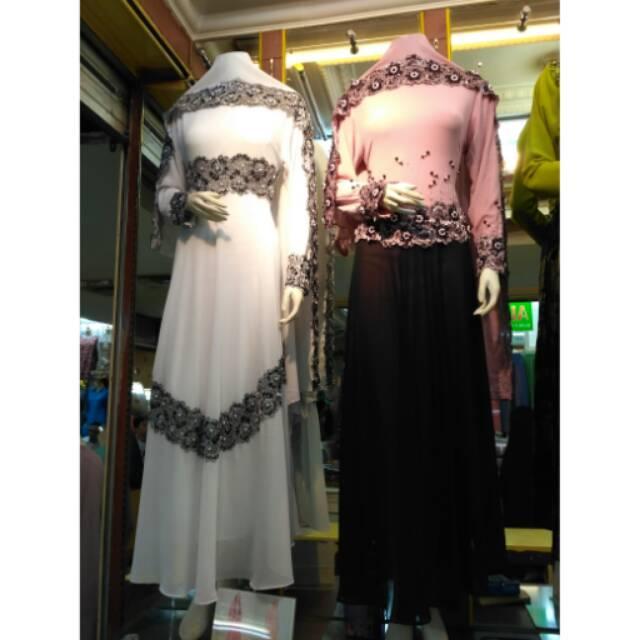 Realpict Gamis Bahan Ceruty Mix Brokat / Dress Pesta Muslimah