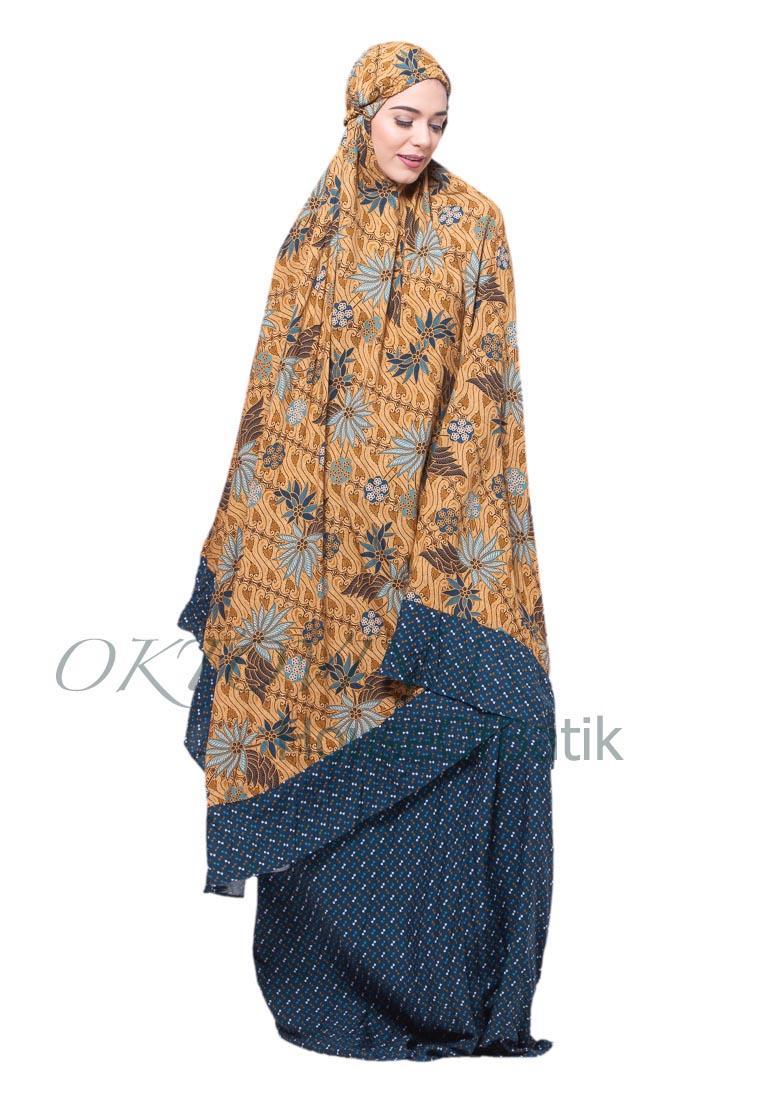 Oktovina-HouseOfBatik Mukena Batik Rayon Premium – Moslem Batik MBRP-5 – Biru / Mukena Batik Jumbo / Mukena Batik / Perlengkapan Shalat / Batik Wanita