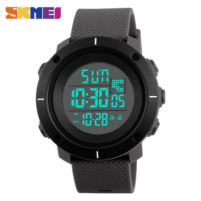 SKMEI 1213 Jam Tangan Olahraga Pria Dual Time Back Light Chronograph Alarm Sport Water Resistant - Black