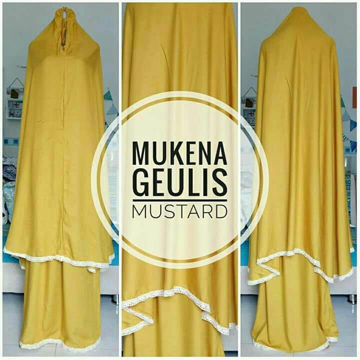 Mukena Bali Renda Polos Dewasa Jumbo Warna Gold Bahan Rayon Premium  Super Adem