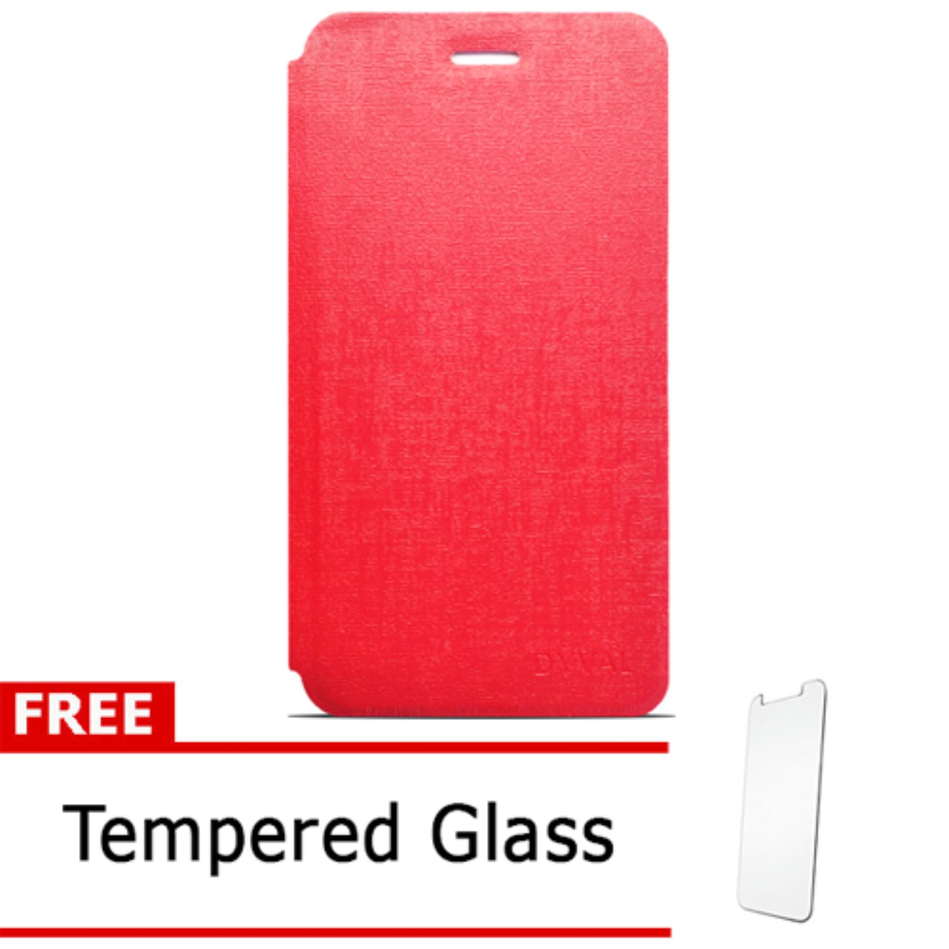 Case Dyval Flipcover Advan vandroid  i5C plus merah + free tempered glass