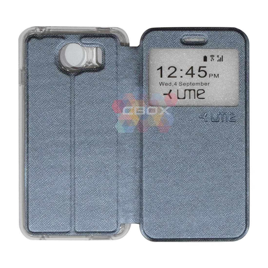 Ume Flipshell Leather Phone Himax M1 Sarung Case / Flipshell Ume Himax M1 / Flipcover Ume Himax M1 / Leather Case Ume Himax M1 / Sarung HP Himax M1 / Flipshell Himax M1 / Flipcover Himax M1 / Casing Himax M1 - Silver