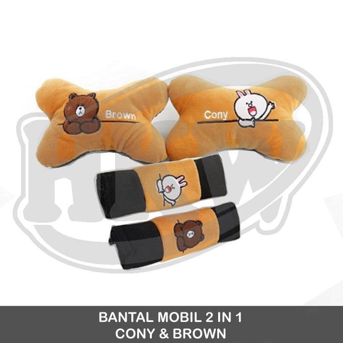 Bantal 2 In 1 Cony Brown Line Mobil Grand Livina