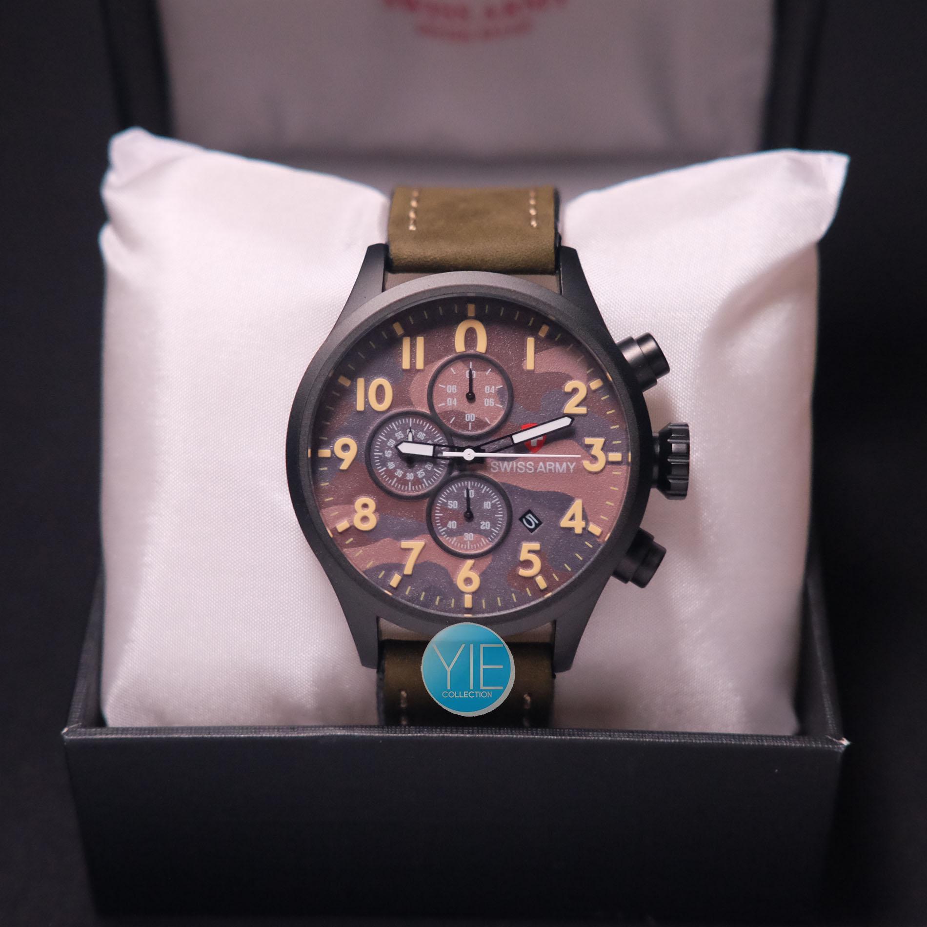JPG Swiss Army Chrono Kulit Hijau Army Plat Coklat Tua 3 JPG Jam tangan