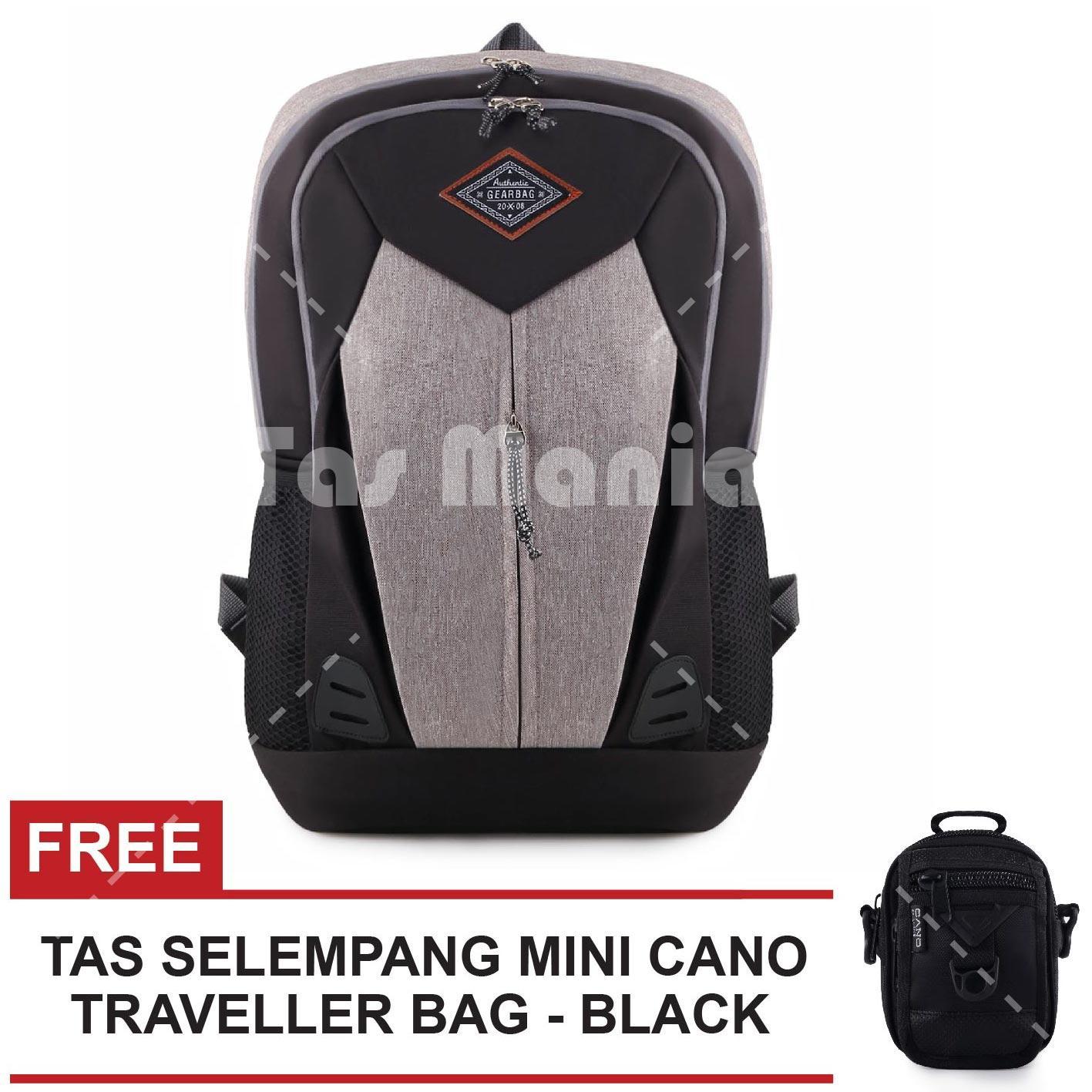 Tas Ransel Gear Bag Sylvester 2.0 Dailypack Tas Laptop Backpack - Grey + FREE Tas Selempang