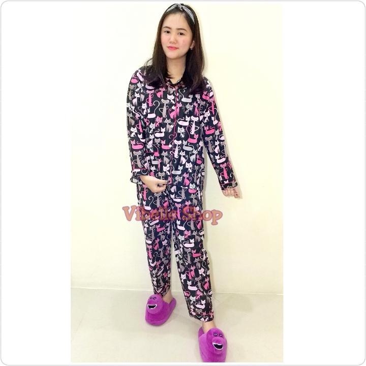 Piyama Baju Tidur TSUMPP KUCING HITAM - Lengan Panjang Celana Panjang
