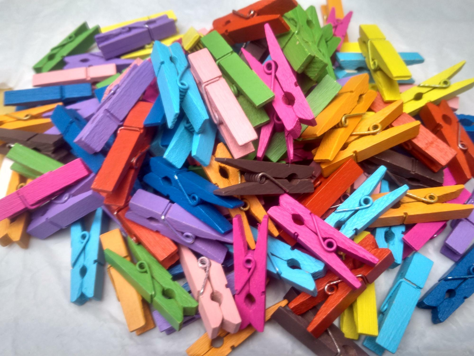 heldig - 20 pcs Wooden Clip Woodenclip / Penjepit Foto / Jepitan Foto Mix Warna / Warna - Warni GRATIS 2 Meter Tali Rami / Tali Goni Bisa COD / Bayar di Tempat