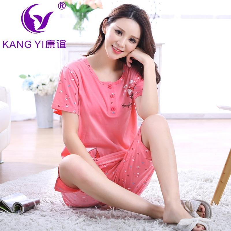 The Hong Kong Kang pajama female of Ms. Yi is new style of in summer pure cotton short sleeve five cent the trousers cartoon whole cotton house clothes female suit - intl