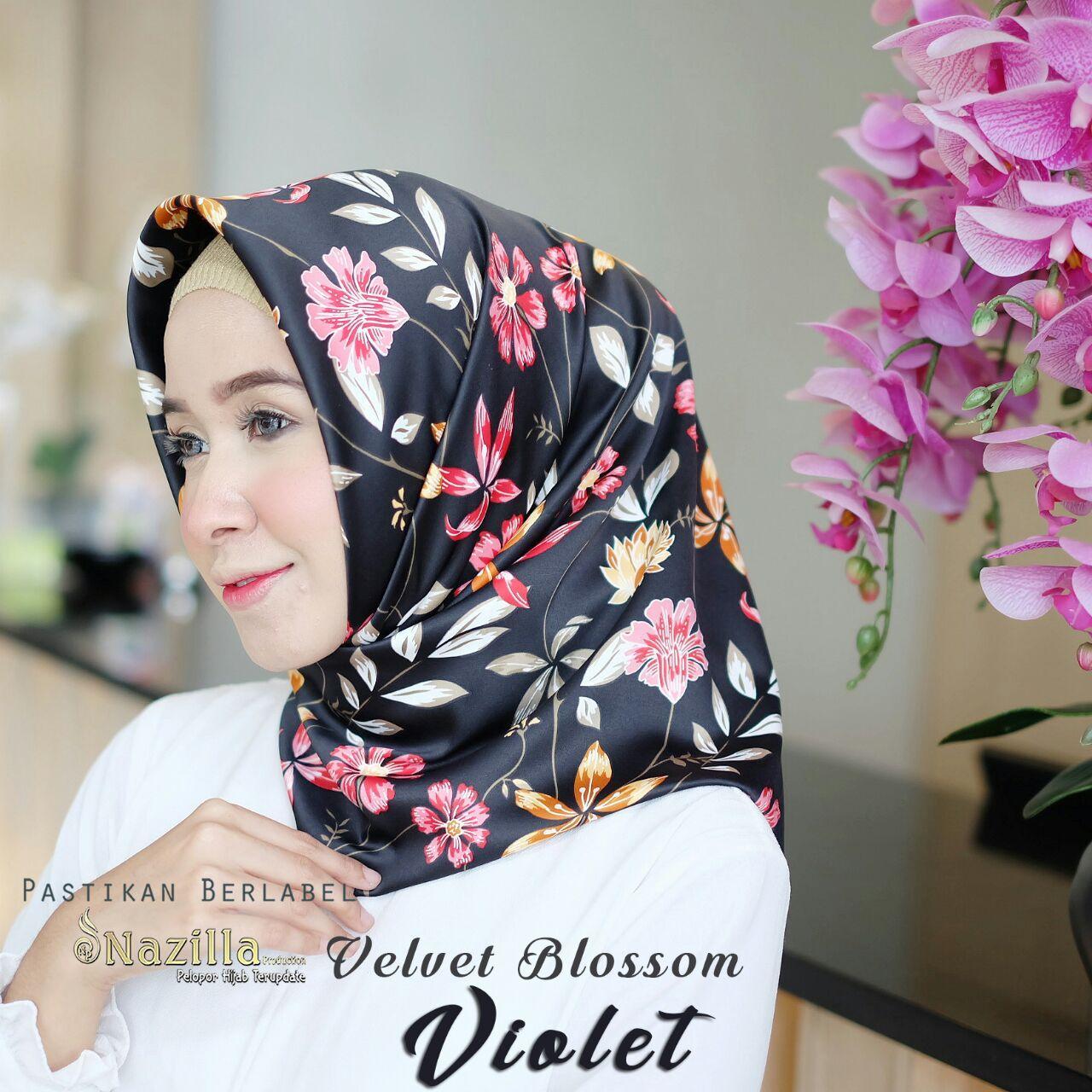 Buy Sell Cheapest Klip Turki Jamur Best Quality Product Deals Mooie Free Kerudung Hijab Jilbab Segi Empat Velvet Blossom Violet Square