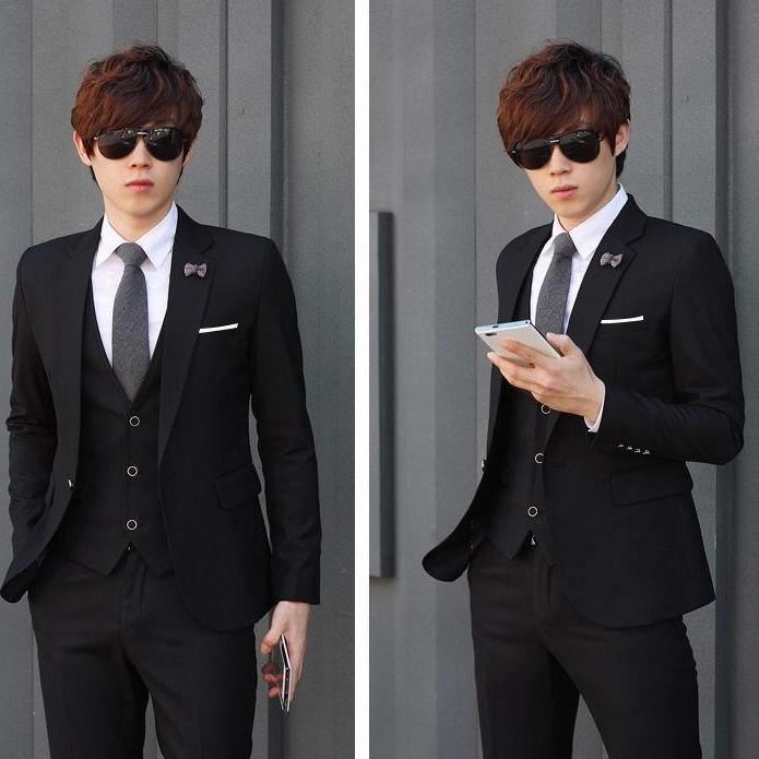Setelan Jas Pria Formal Arrival Design Mode - Jas Pria Modern Design - Jas Formal Executive Youth Mode - Jas Pria Entrepreneur ( Jas + Vest + Celana ) - Black