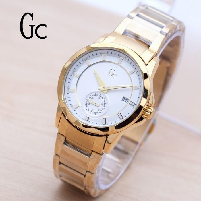 Jam Tangan Wanita / Cewek Guess Gc Chrono SK880 Rantai Gold Putih