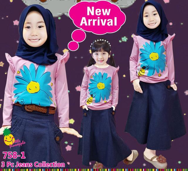 Baju Muslim Anak Perempuan Little Pineapple Pink Muda Bunga Rok Denim