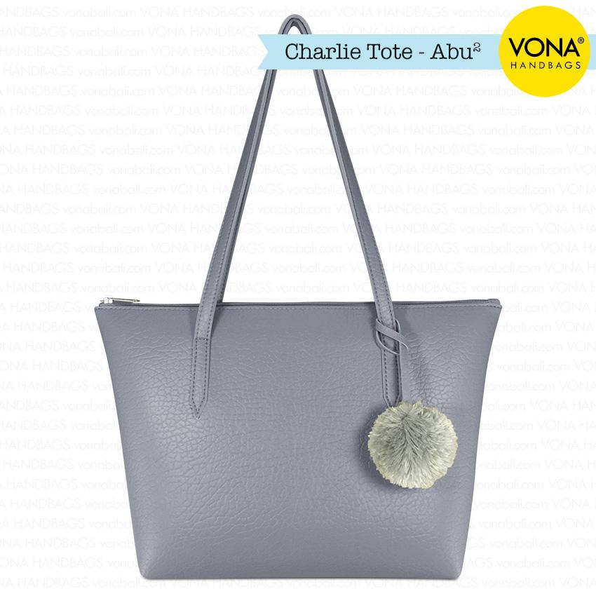 VONA Charlie [Abu-abu] - Tas Tote Bahu Pompom Bulu Shoulder Bag Wanita Tangan Sekolah Kerja Belanja Ladies Shopping Simple Handbag Remaja Cewek Tali Zipper Murah Korean Fashion Bali Kulit Sintetis PU Leather Best Seller New Terbaru Branded Original Asli