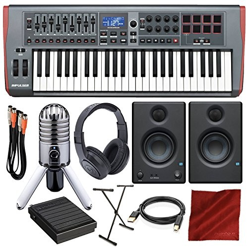 Novation Impulse 49 USB Midi Keyboard Controller with PreSonus Eris E3.5 Monitors, Samson