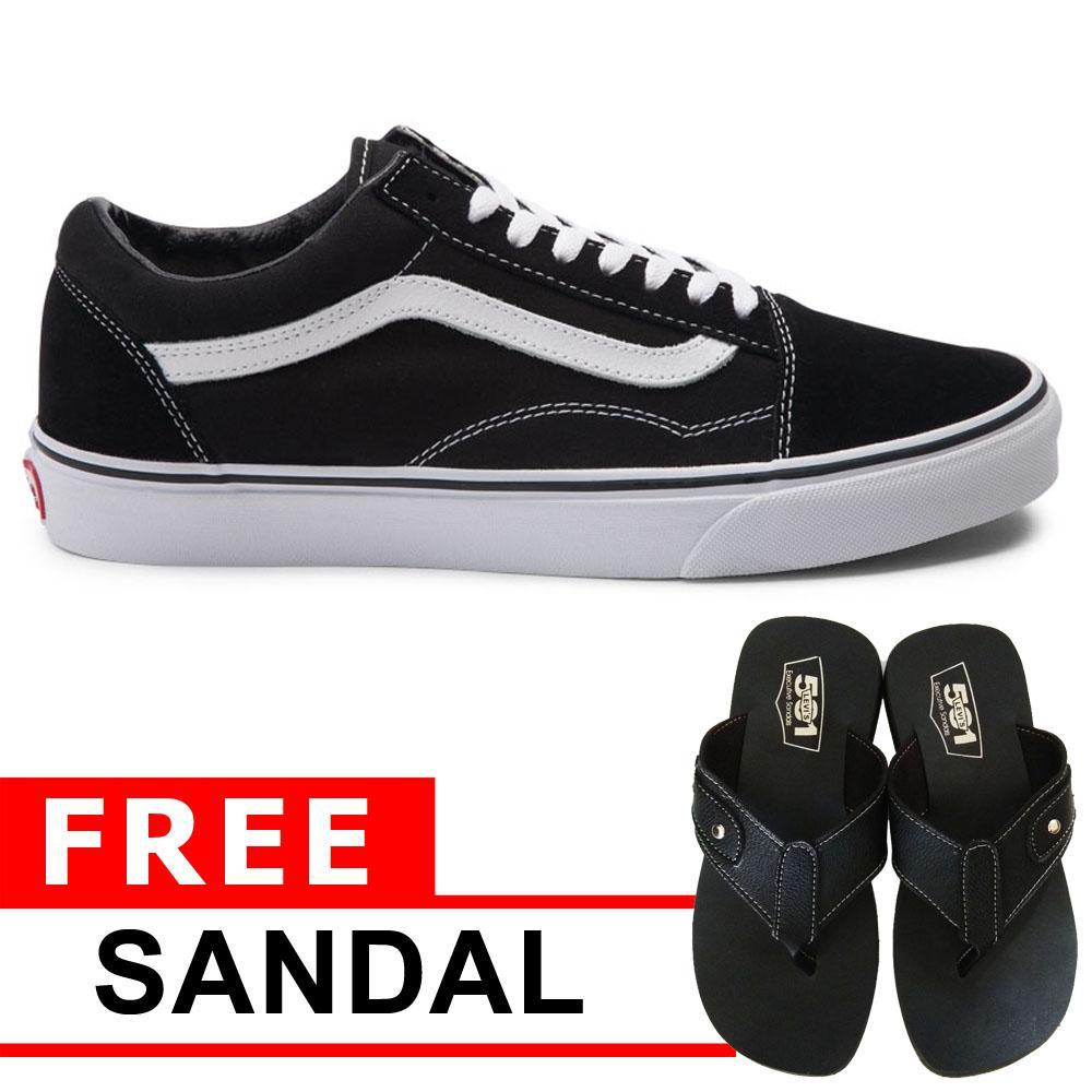 Just Cloth PROMO ! Sepatu Pria Wanita Sneakers Casual Vans Old Skool Unisex Model Pendek + Free Sendal Rocky