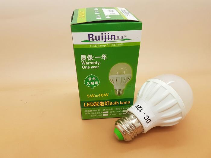 Merk RUIJIN BOHLAM LAMPU LED 12V DC LED 5W ( LAMPU SOLAR CELL )