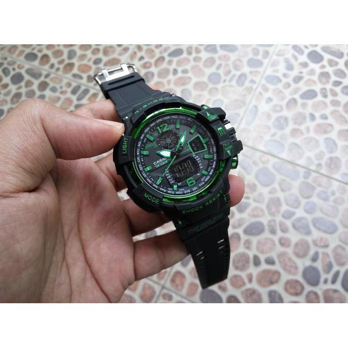 G Shock Gwa 1100 Lis Hijau Hitam Black Gshock Gwa1100 Jam Tangan Pria - Timewatch
