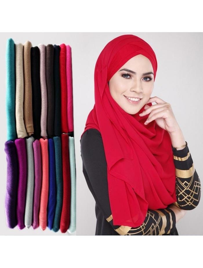 Pashmina Scarf Hijab Katun Polos Warna Colourfull Murah Grosir Baru