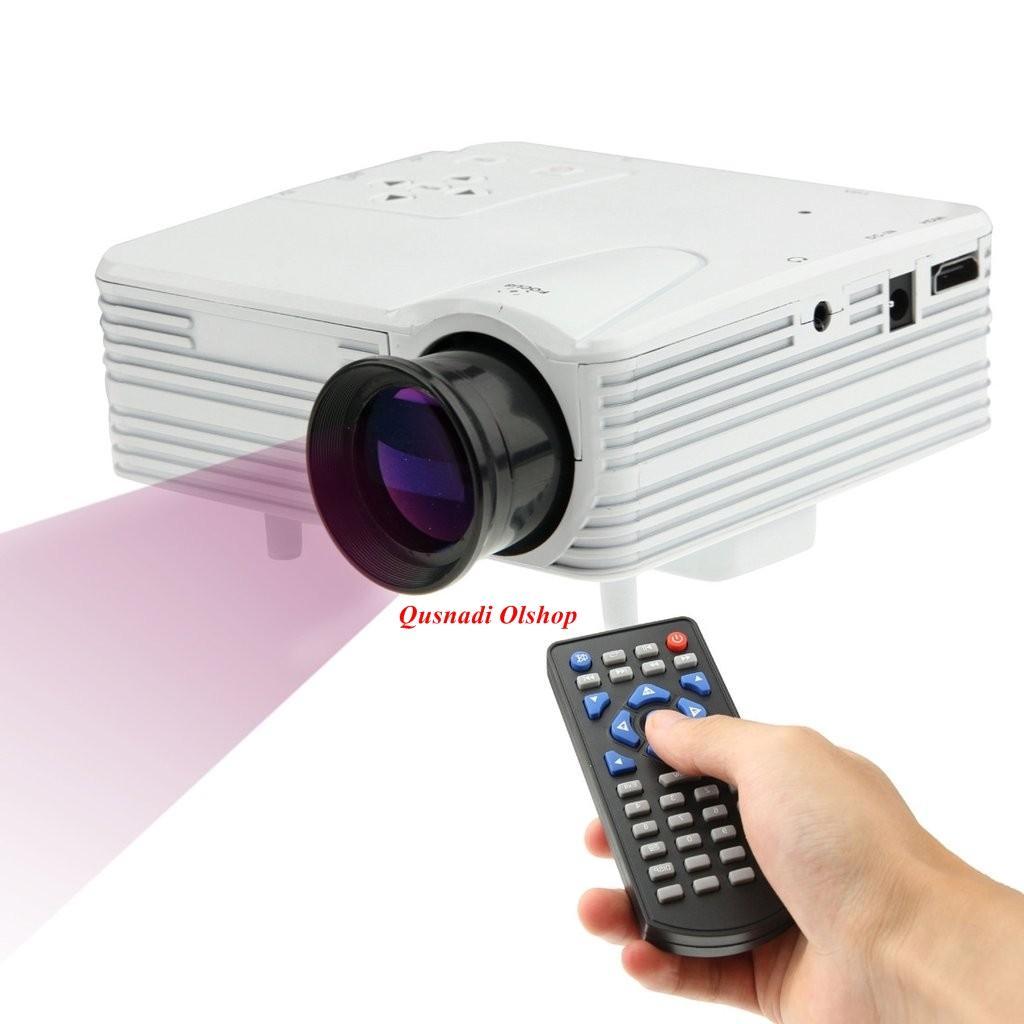 infokus H80 Proyektor Full HD 1080 P Portable Mini Proyektor  Murah dan Canggih LCD Proyektor Home Theater Video Game LED Proyektor dengan AV/USB/SD untuk Nobar Bola Video Bioskop Rumah HP Android