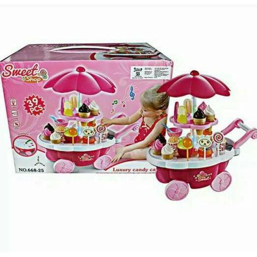 Ice Cream Set Trolley Ice Cream Lollipop Mainan Murah Eskrim