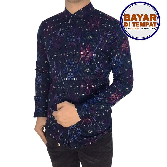 Maciku Kemeja Batik Songket Pria Lengan Panjang Slimfit Hitam / Baju batik atasan pria Long Purple