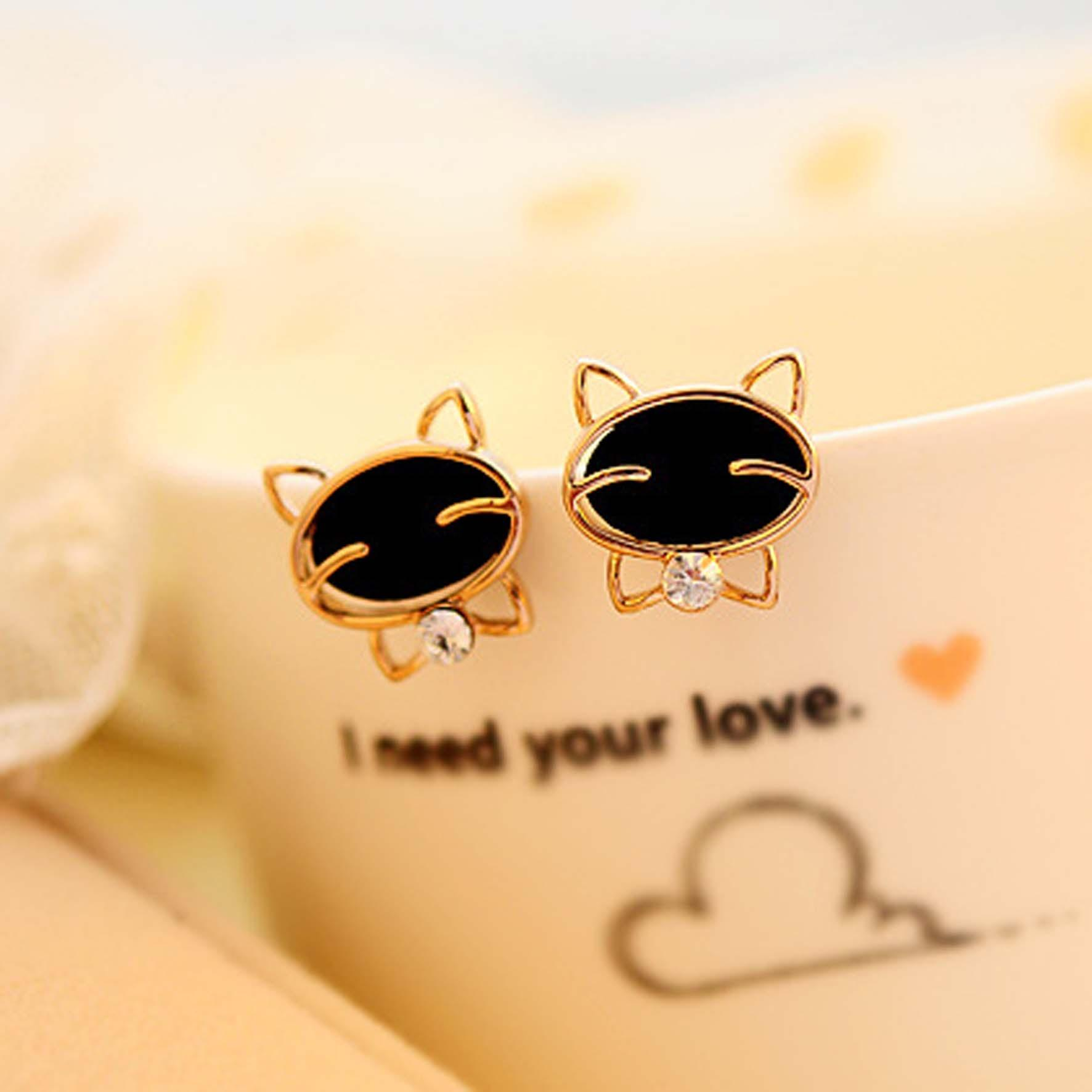 anting emas kucing diamond / earrings cat diamond gold JAN002
