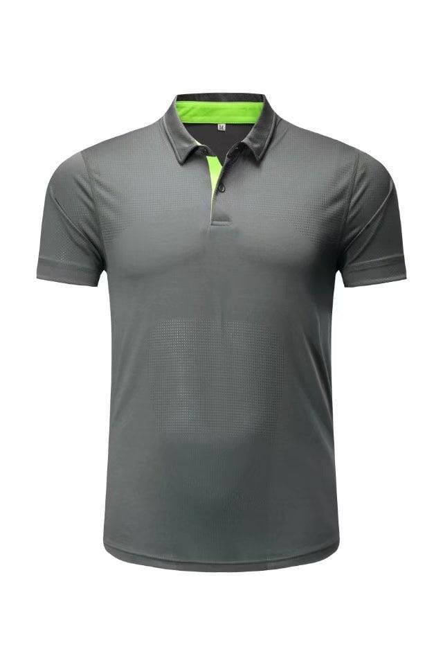 P031# Polo kaos lari baju olahraga gym fitness adidas nike polos, abu - KhcJC0