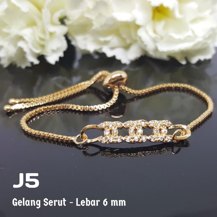 J5 Gelang Tangan Serut Anak Chanel Perhiasan Imitasi Xuping Lapis Emas