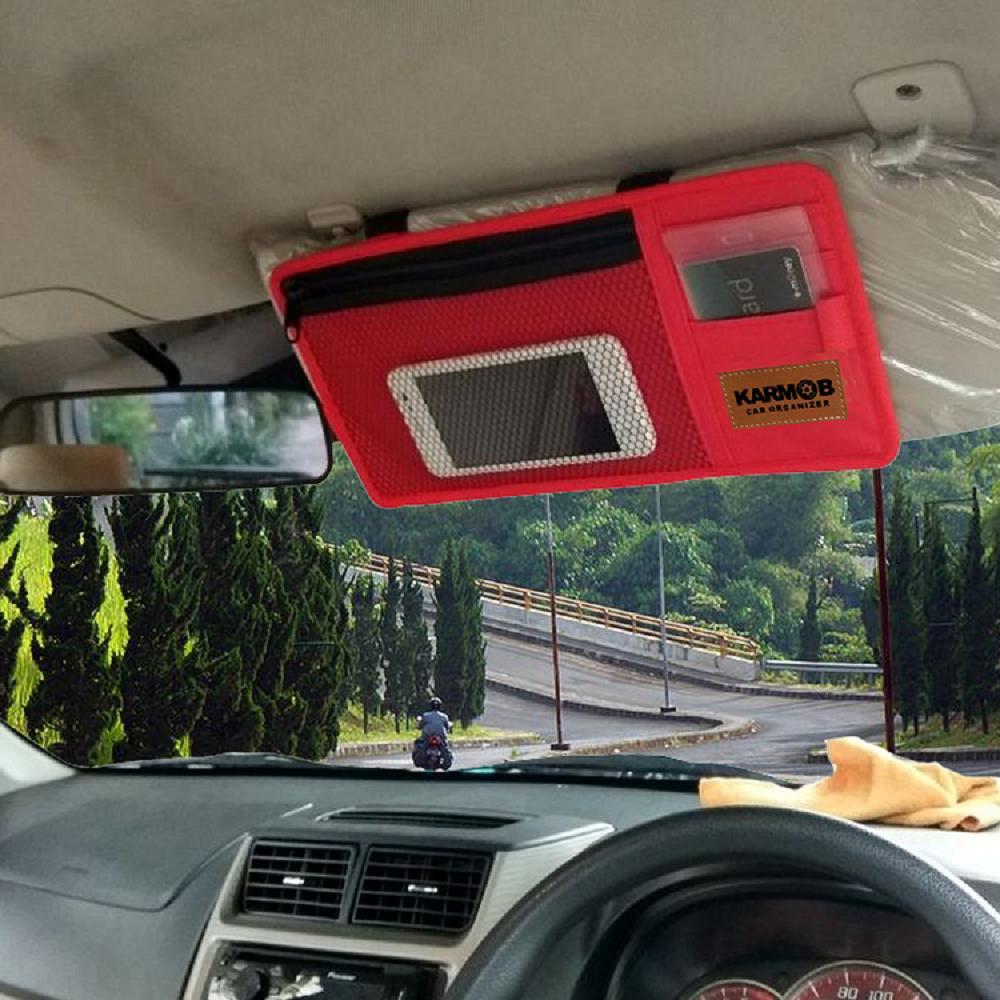 Fitur Karmob Sun Visor Organizer Tempat Kartu Mobil E Toll Card Money