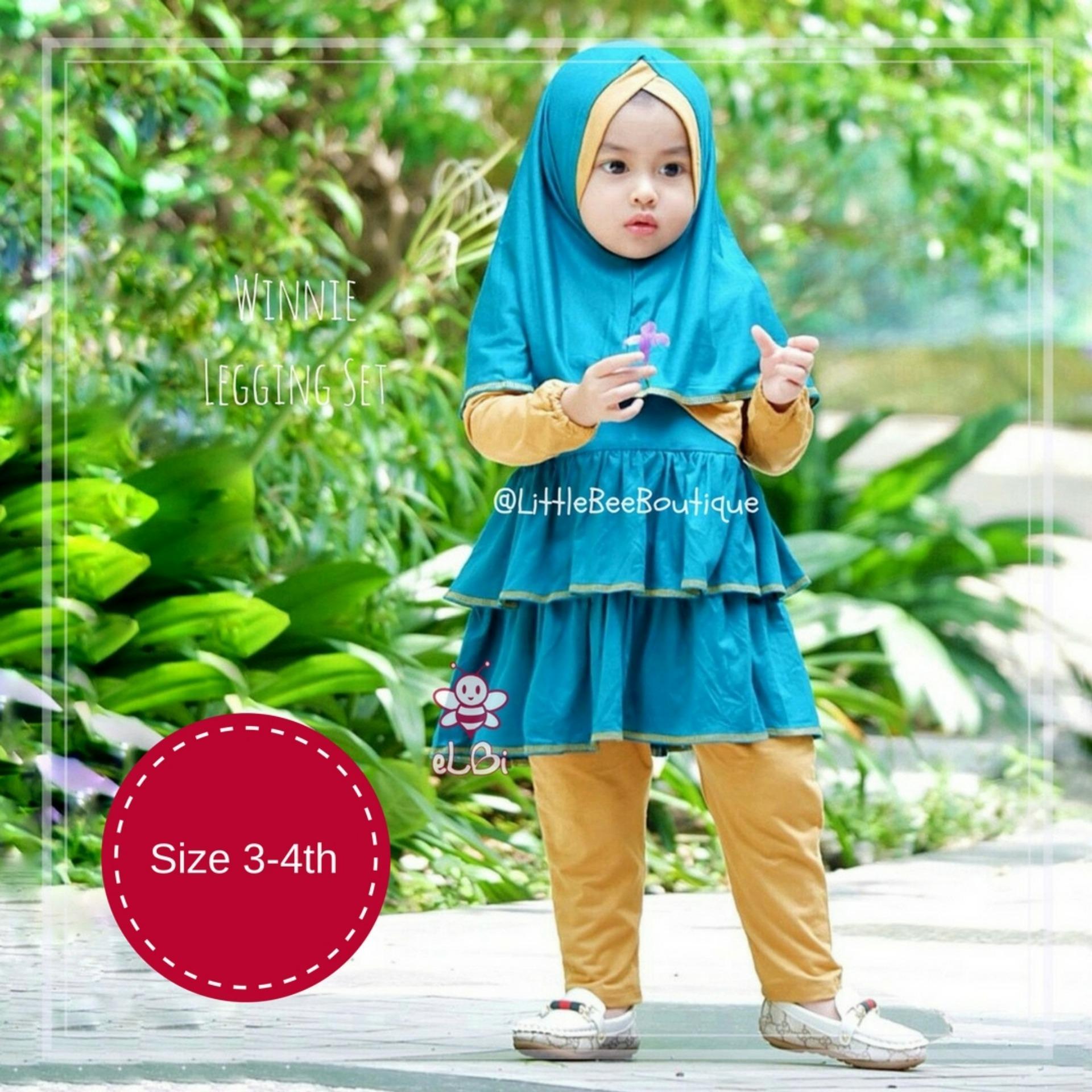 eLBi Winnie Legging Set / Baju Muslim Balita / Baju Muslim Bayi Perempuan / Baju Bayi Perempuan / Baju Anak Perempuan by Little Bee Boutique