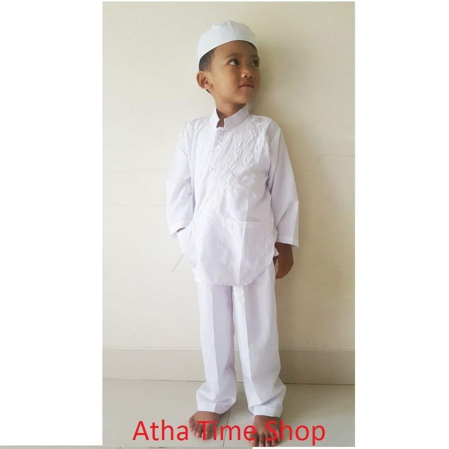 Baju Koko Untuk Anak - Setelan Baju Celana Plus Topi - Bahan Katun