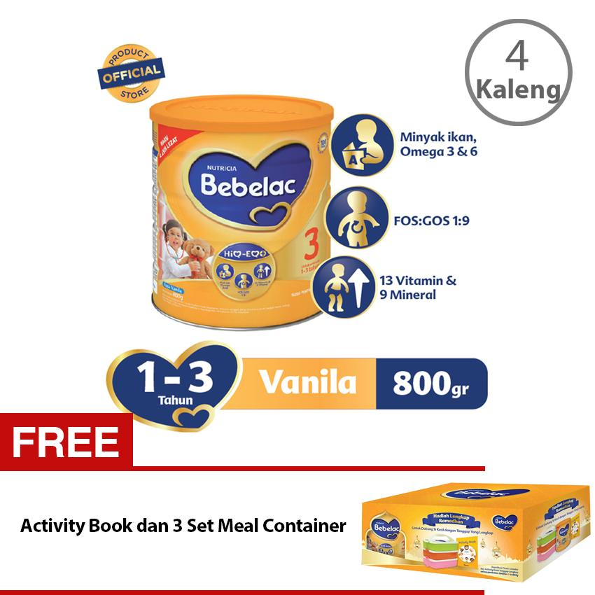 Bebelac 3 HiQ-EQ Ramadhan Package - Vanila 800 gr - Bundle isi 4 Kaleng + FREE Activity Book dan 3 Set Meal Container