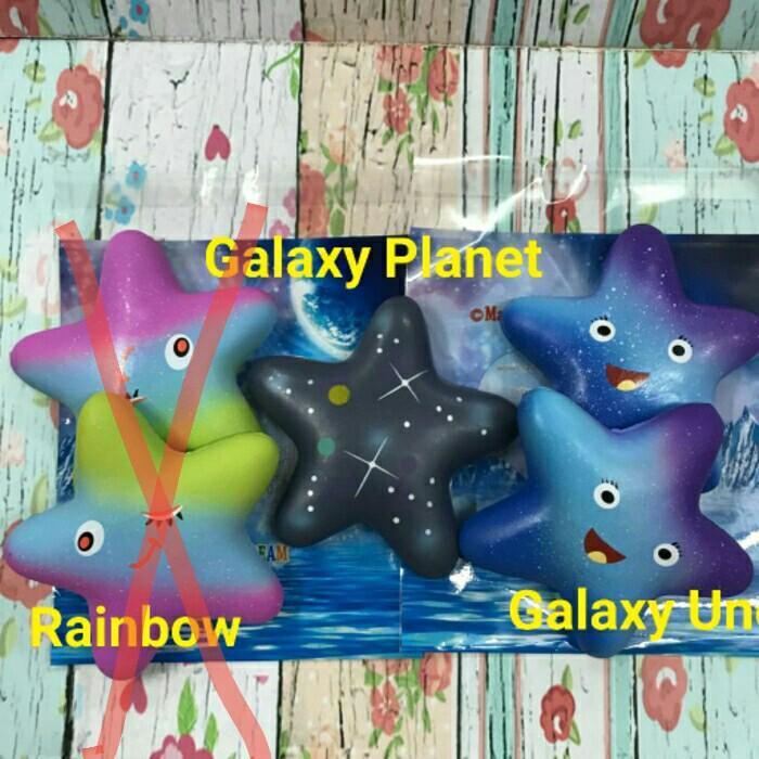 Mainan Anak MU530 Squishy Licensed Rainbow Galaxy Starfish By Squishy Factory