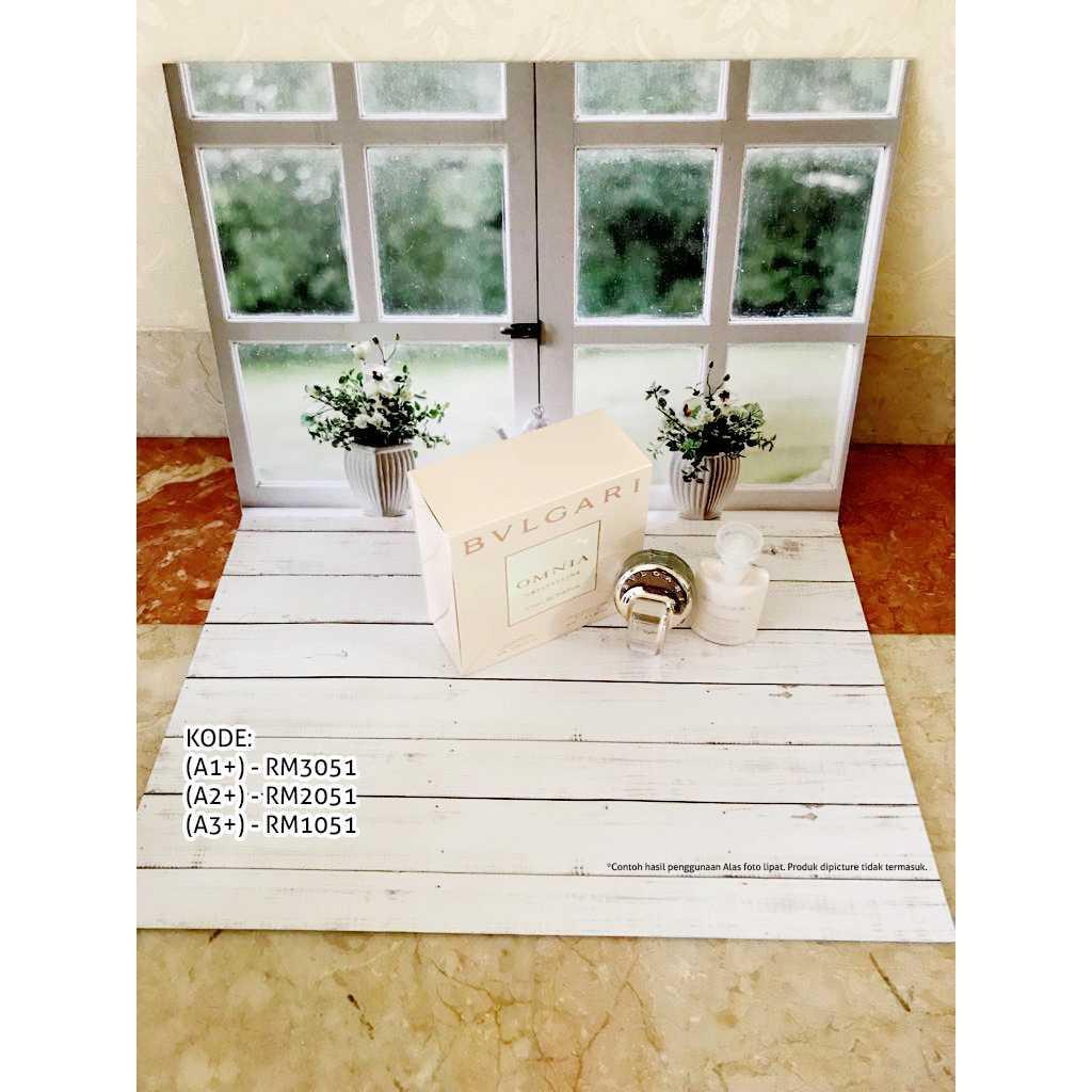 Alas Foto A2+ kode: RM2051 (Background Poto motif jendela putih/kayu)