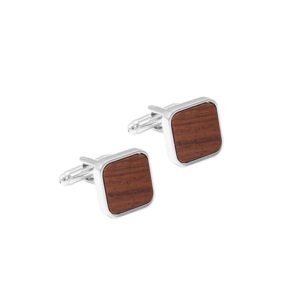 Raja Koléksi Square elegan Cufflinks kayu (Brown) - Ka luar