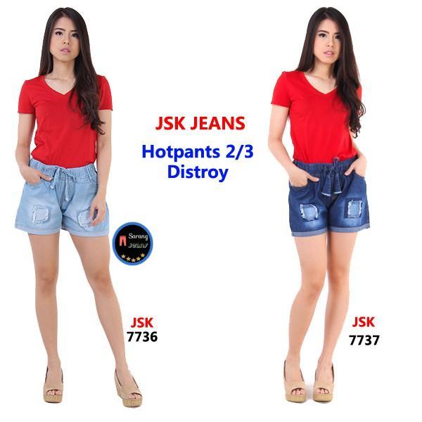 Celana Pendek Jeans Wanita Hotpants 2/3 Distroy Trendy Modis Cewek Denim Gaul Skinny ALL Size JSK